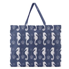 Seahorse And Shell Pattern Zipper Large Tote Bag