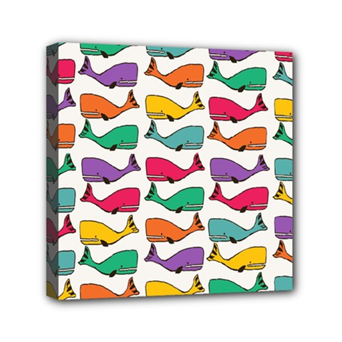 Small Rainbow Whales Mini Canvas 6  X 6  by Simbadda