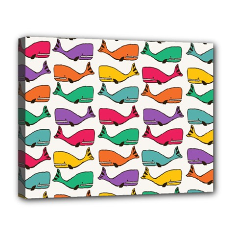Small Rainbow Whales Canvas 14  X 11
