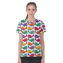 Small Rainbow Whales Women s Cotton Tee