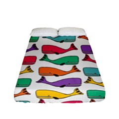 Small Rainbow Whales Fitted Sheet (full/ Double Size) by Simbadda