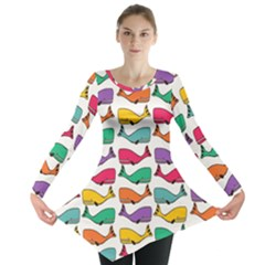 Small Rainbow Whales Long Sleeve Tunic