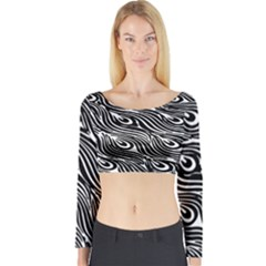 Digitally Created Peacock Feather Pattern In Black And White Long Sleeve Crop Top by Simbadda