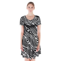 Digitally Created Peacock Feather Pattern In Black And White Short Sleeve V Neck Flare Dress by Simbadda
