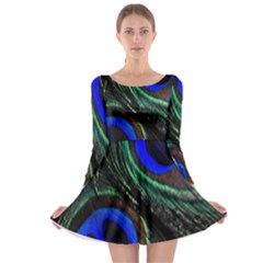 Peacock Feather Long Sleeve Skater Dress