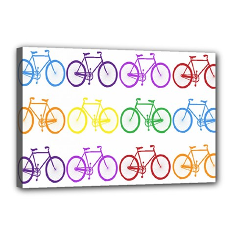 Rainbow Colors Bright Colorful Bicycles Wallpaper Background Canvas 18  X 12  by Simbadda