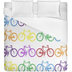Rainbow Colors Bright Colorful Bicycles Wallpaper Background Duvet Cover (king Size) by Simbadda