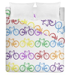 Rainbow Colors Bright Colorful Bicycles Wallpaper Background Duvet Cover Double Side (queen Size) by Simbadda