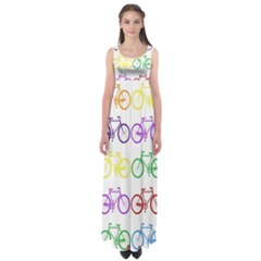 Rainbow Colors Bright Colorful Bicycles Wallpaper Background Empire Waist Maxi Dress