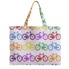 Rainbow Colors Bright Colorful Bicycles Wallpaper Background Medium Zipper Tote Bag by Simbadda