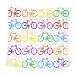 Rainbow Colors Bright Colorful Bicycles Wallpaper Background Square Tapestry (large) by Simbadda