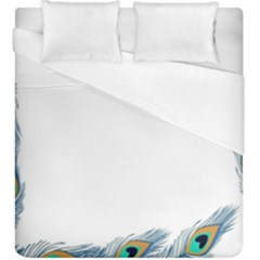 Beautiful Frame Made Up Of Blue Peacock Feathers Duvet Cover (king Size) by Simbadda