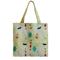 Vintage Seamless Nautical Wallpaper Pattern Zipper Grocery Tote Bag
