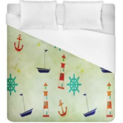 Vintage Seamless Nautical Wallpaper Pattern Duvet Cover (king Size) by Simbadda