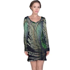 Feather Peacock Drops Green Long Sleeve Nightdress