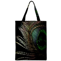 Feather Peacock Drops Green Zipper Classic Tote Bag by Simbadda