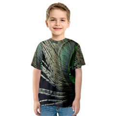 Feather Peacock Drops Green Kids  Sport Mesh Tee
