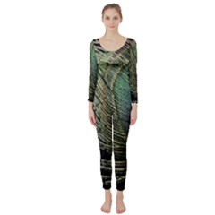 Feather Peacock Drops Green Long Sleeve Catsuit by Simbadda