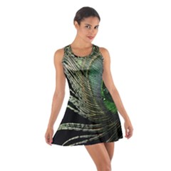 Feather Peacock Drops Green Cotton Racerback Dress