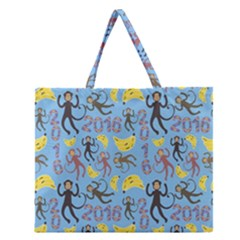Cute Monkeys Seamless Pattern Zipper Large Tote Bag by Simbadda