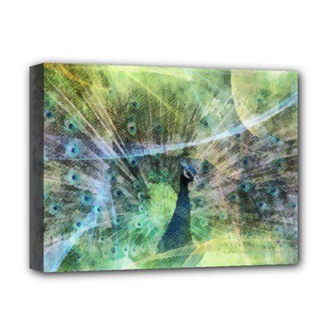 Digitally Painted Abstract Style Watercolour Painting Of A Peacock Deluxe Canvas 16  X 12