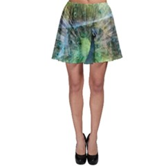 Digitally Painted Abstract Style Watercolour Painting Of A Peacock Skater Skirt by Simbadda