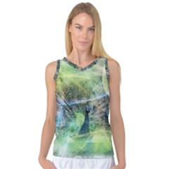 Digitally Painted Abstract Style Watercolour Painting Of A Peacock Women s Basketball Tank Top by Simbadda