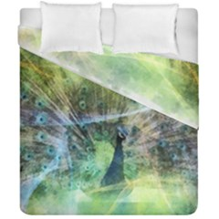 Digitally Painted Abstract Style Watercolour Painting Of A Peacock Duvet Cover Double Side (california King Size) by Simbadda