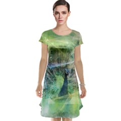Digitally Painted Abstract Style Watercolour Painting Of A Peacock Cap Sleeve Nightdress