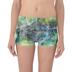 Digitally Painted Abstract Style Watercolour Painting Of A Peacock Reversible Bikini Bottoms by Simbadda