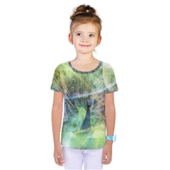 Digitally Painted Abstract Style Watercolour Painting Of A Peacock Kids  One Piece Tee