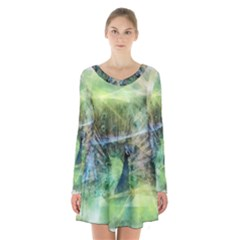 Digitally Painted Abstract Style Watercolour Painting Of A Peacock Long Sleeve Velvet V-neck Dress by Simbadda