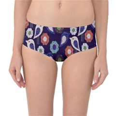 Cute Birds Pattern Mid Waist Bikini Bottoms
