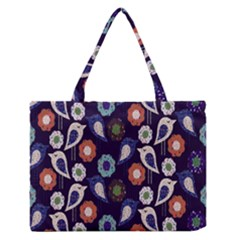 Cute Birds Pattern Medium Zipper Tote Bag by Simbadda