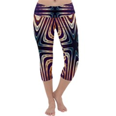 Colorful Seamless Vibrant Pattern Capri Yoga Leggings by Simbadda