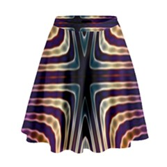 Colorful Seamless Vibrant Pattern High Waist Skirt by Simbadda