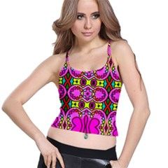 Love Hearths Colourful Abstract Background Design Spaghetti Strap Bra Top