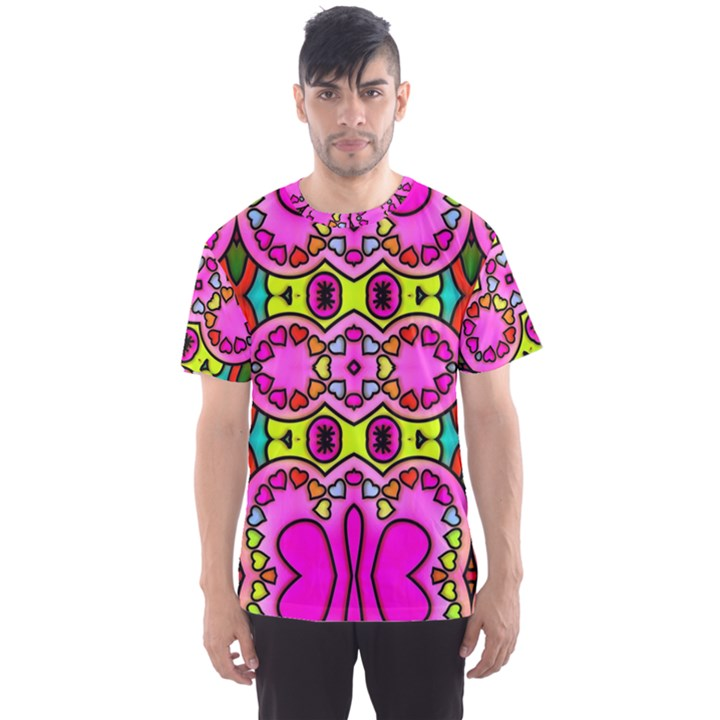Love Hearths Colourful Abstract Background Design Men s Sport Mesh Tee