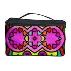Love Hearths Colourful Abstract Background Design Cosmetic Storage Case by Simbadda