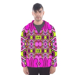 Love Hearths Colourful Abstract Background Design Hooded Wind Breaker (men) by Simbadda