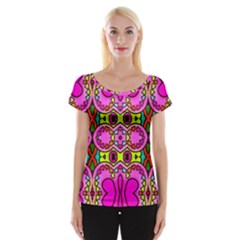 Love Hearths Colourful Abstract Background Design Women s Cap Sleeve Top by Simbadda