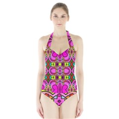 Love Hearths Colourful Abstract Background Design Halter Swimsuit by Simbadda