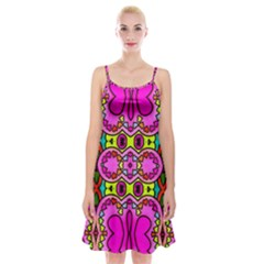 Love Hearths Colourful Abstract Background Design Spaghetti Strap Velvet Dress by Simbadda