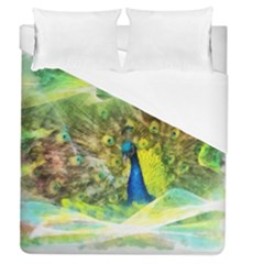 Peacock Digital Painting Duvet Cover (queen Size) by Simbadda