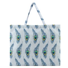 Background Of Beautiful Peacock Feathers Wallpaper For Scrapbooking Zipper Large Tote Bag by Simbadda