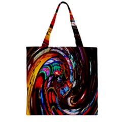 Abstract Chinese Inspired Background Zipper Grocery Tote Bag by Simbadda