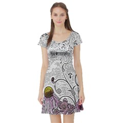 Abstract Pattern Short Sleeve Skater Dress by Simbadda
