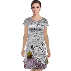 Abstract Pattern Cap Sleeve Nightdress by Simbadda