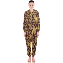 Seamless Animal Fur Pattern Hooded Jumpsuit (ladies)  by Simbadda