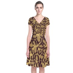 Seamless Animal Fur Pattern Short Sleeve Front Wrap Dress by Simbadda